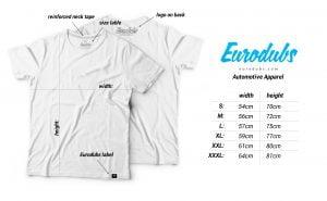 Eurodubs t-shirt measuers