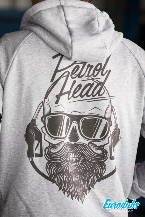 Petrolhead large print on back of a hoodie