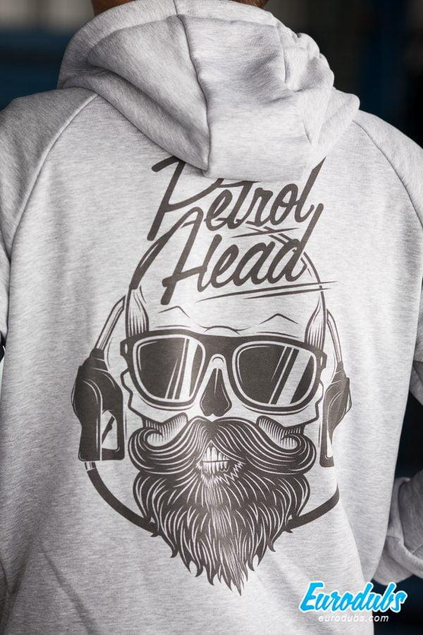 Petrolhead large print on back of a hoodie