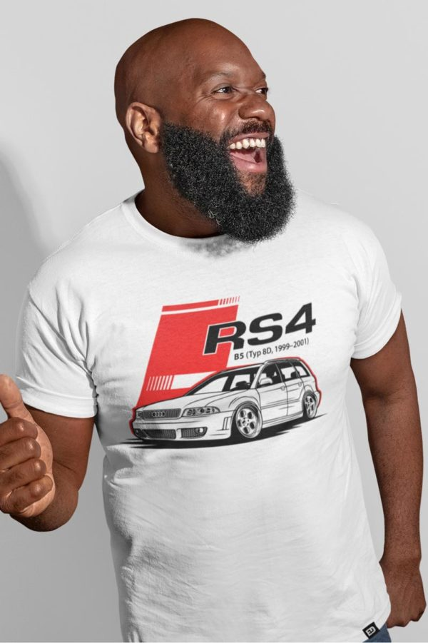 Audi RS4 white t-shirt men