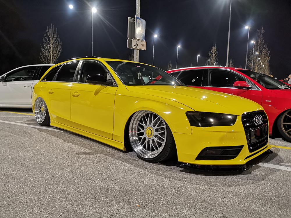 Yellow Audi stanced Ljubljana El Cartel Night Car meet 2019
