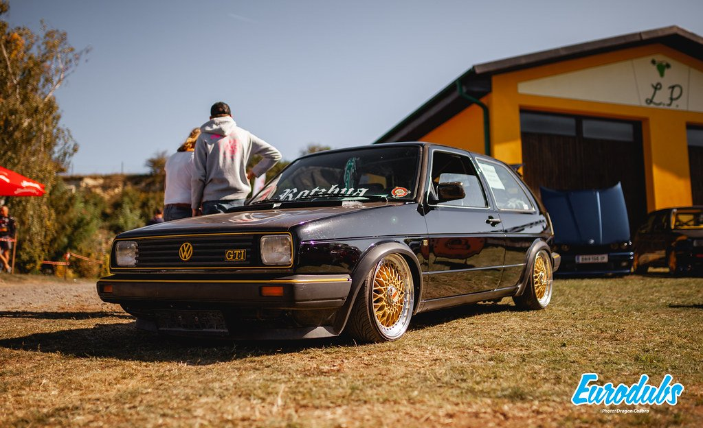 Color-coded VW Golf GTI on BBS RS