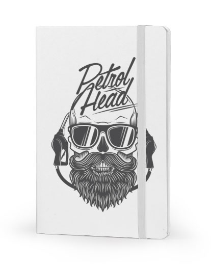 PetrolHead front cover white notebook