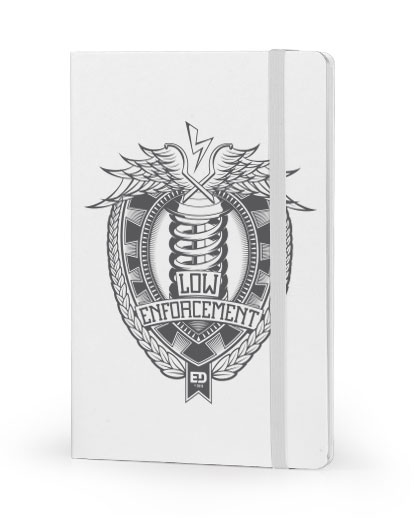 Low Enforcement front cover white notebook