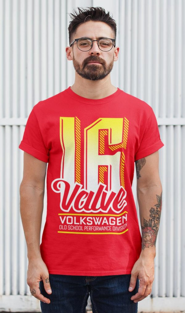 Red VW 16v round neck t-shirt