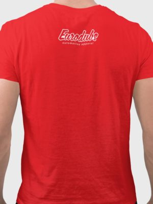 back red t-shirt with Eurodubs logo