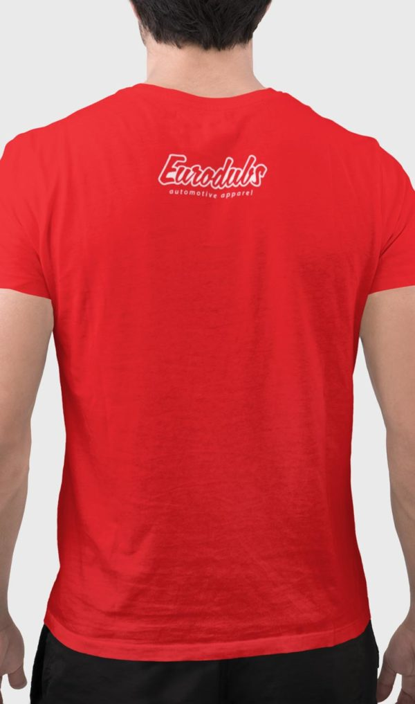 back red t-shirt with Eurodubs logo